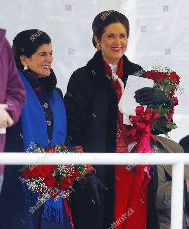Stock Picture of Luci Baines Johnson, Lynda Johnson Robb. Luci Baines Johnson, left, and her sister, Lynda Johnson Robb attend the christening the Lyndon B. Johnson, the third Zumwalt-class guided missile destroyer, built at Bath Iron Works, in Bath, Maine. Johnson and Robb and the daughters of the former president