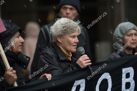 MP Kate Green seen speaking during the rally at St Peters Square.