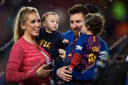 Lionel Messi of FC Barcelona and Luis Suarez wife Sofia Balbi