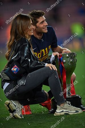 Stock Photo of Sergi Roberto of FC Barcelona and his wife Coral Simanovich
