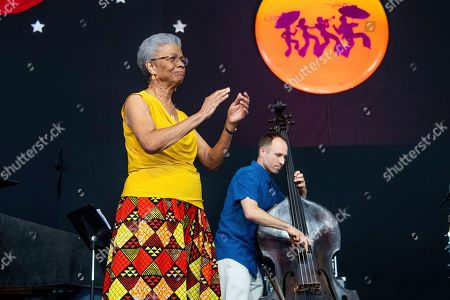 Stock Image of Germaine Bazzle performs at the New Orleans Jazz and Heritage Festival, in New Orleans
