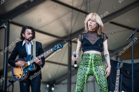 Stock Picture of Alynda Lee Segarra of Hurray for the Riff Raff performs at the New Orleans Jazz and Heritage Festival, in New Orleans
