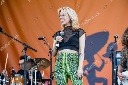 Stock Photo of Alynda Lee Segarra of Hurray for the Riff Raff performs at the New Orleans Jazz and Heritage Festival, in New Orleans