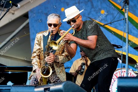 Charlie Gabriel, Branden Lewis. Charlie Gabriel, left, and Branden Lewis of the Preservation Hall Jazz Band perform at the New Orleans Jazz and Heritage Festival, in New Orleans