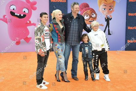 "Kingston Rossdale, Gwen Stefani, Blake Shelton, Apollo Bowie Flynn Rossdale, and Zuma Nesta Rock Rossdale. Kingston Rossdale, from left, Gwen Stefani, Blake Shelton, Apollo Bowie Flynn Rossdale, and Zuma Nesta Rock Rossdale attend the World Premiere of ""UglyDolls"" at Regal Cinema LA Live, in Los Angeles"