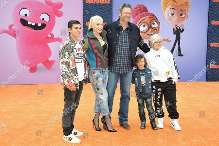 "Stock Image of Kingston Rossdale, Gwen Stefani, Blake Shelton, Apollo Bowie Flynn Rossdale, and Zuma Nesta Rock Rossdale. Kingston Rossdale, from left, Gwen Stefani, Blake Shelton, Apollo Bowie Flynn Rossdale, and Zuma Nesta Rock Rossdale attend the World Premiere of ""UglyDolls"" at Regal Cinema LA Live, in Los Angeles"