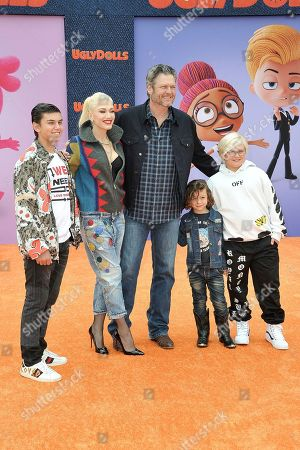 "Stock Picture of Kingston Rossdale, Gwen Stefani, Blake Shelton, Apollo Bowie Flynn Rossdale, and Zuma Nesta Rock Rossdale. Kingston Rossdale, from left, Gwen Stefani, Blake Shelton, Apollo Bowie Flynn Rossdale, and Zuma Nesta Rock Rossdale attend the World Premiere of ""UglyDolls"" at Regal Cinema LA Live, in Los Angeles"