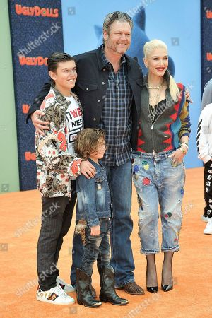 "Kingston Rossdale, Apollo Bowie Flynn Rossdale, Blake Shelton, Gwen Stefani. Kingston Rossdale, from left, Apollo Bowie Flynn Rossdale, Blake Shelton and Gwen Stefani attends the World Premiere of ""UglyDolls"" at Regal Cinema LA Live, in Los Angeles"
