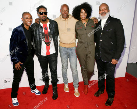 "Tommy Davidson, Shawn Wayans, Keenan Ivory Wayans, Kim Wayans, David Alan Grier. Actors/comedians Tommy Davidson, from left, Shawn Wayans, Keenan Ivory Wayans, Kim Wayans and David Alan Grier attend the screening for ""Tribeca TV : In Living Color - 25th Anniversary reunion from the finale"" during the 2019 Tribeca Film Festival at Spring Studios, in New York"