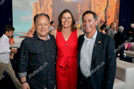 Stock Picture of Kelly Asbury, Director, Jane Hartwell, Producer, Adam Fogelson, Chairman, STXfilms,