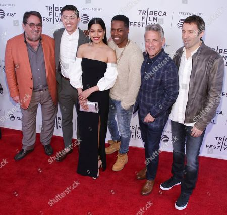 """Takashi Doscher, Freida Pinto, Leslie Odom, Jr., Eyal Rimmon, Jim Kaufman. Director Takashi Doscher, 2nd from left, actors Freida Pinto, Leslie Odom, Jr., producer Eyal Rimmon and executive producer Jim Kaufman attend the screening for """"Only"""" during the 2019 Tribeca Film Festival at the SVA Theatre, in New York"""