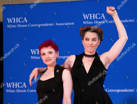 Laurie Penny, Amanda Palmer. Laurie Penny, left, and Amanda Palmer attend the 2019 White House Correspondents' Association dinner at the Washington Hilton, in Washington