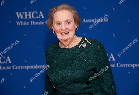 Madeleine Albright attends the 2019 White House Correspondents' Association dinner at the Washington Hilton, in Washington