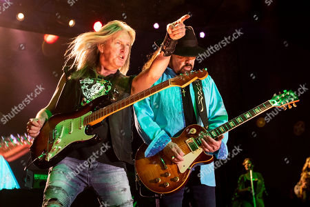 Lynyrd Skynyrd's guitarists Mark Matejka (L) and Gary Rossington (R) perform on stage during the Stagecoach Festival 2019 in Indio, near Palm Springs, California, USA, 27 April 2019. The festival runs from 26 to 28 April 2019.