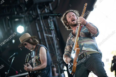 Stock Image of Whiskey Myers' singer and guitarist Cody Cannon (R) performs on stage during the Stagecoach Festival 2019 in Indio, near Palm Springs, California, USA, 27 April 2019. The festival runs from 26 to 28 April 2019.