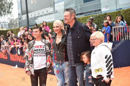 Stock Image of Kingston Rossdale, Gwen Stefani, Blake Shelton, Apollo Rossdale, Zuma Rossdale