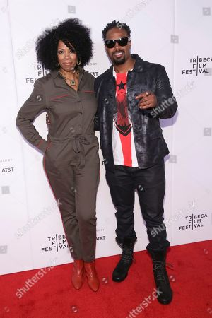 "Kim Wayans, Shawn Wayans. Actors/comedians Kim Wayans left, and Shawn Wayans attend the screening for ""Tribeca TV : In Living Color - 25th Anniversary reunion from the finale"" during the 2019 Tribeca Film Festival at Spring Studios, in New York"