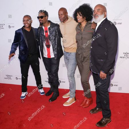 "Stock Photo of Tommy Davidson, Shawn Wayans, Keenan Ivory Wayans, Kim Wayans, David Alan Grier. Actors/comedians Tommy Davidson, from left, Shawn Wayans, Keenan Ivory Wayans, Kim Wayans and David Alan Grier attend the screening for ""Tribeca TV : In Living Color - 25th Anniversary reunion from the finale"" during the 2019 Tribeca Film Festival at Spring Studios, in New York"