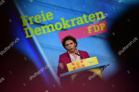 Free Democratic Party (FDP) deputy chairwoman and top candidate for the European Parliament elections Nicola Beer speaks during the third day of the party convention of the Free Democratic Party (FDP) at the Station Berlin, in Berlin, Germany, 28 April 2019. The FDP party convention runs from 26 to 28 April.