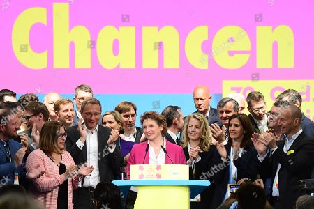 Free Democratic Party (FDP) deputy chairwoman and top candidate for the European Parliament elections Nicola Beer (C) receives applause after her Europe speech during the third day of the party convention of the Free Democratic Party (FDP) at the Station Berlin, in Berlin, Germany, 28 April 2019. The FDP party convention runs from 26 to 28 April.