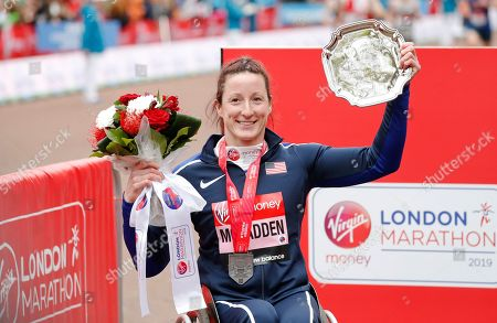 Women's wheelchair race second place winner Tatyana McFadden of the United States at the 39th London Marathon in London