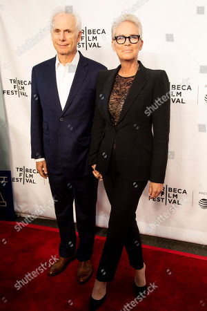 """Christopher Guest, Jamie Lee Curtis. Christopher Guest, left, and Jamie Lee Curtis, right, attend the 35th anniversary screening for """"This is Spinal Tap"""" during the 2019 Tribeca Film Festival at the Beacon Theatre, in New York"""