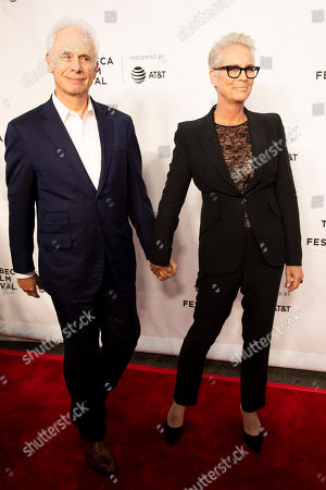 """Stock Image of Christopher Guest, Jamie Lee Curtis. Christopher Guest, left, and Jamie Lee Curtis, right, attend the 35th anniversary screening for """"This is Spinal Tap"""" during the 2019 Tribeca Film Festival at the Beacon Theatre, in New York"""
