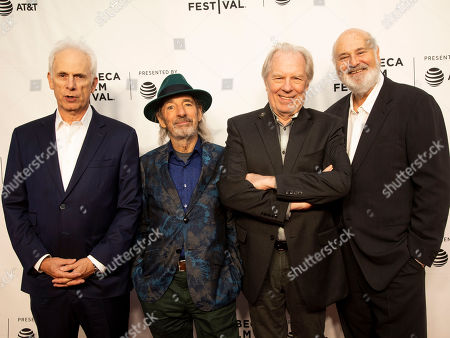 """Christopher Guest, Harry Shearer, Michael McKean, Rob Reiner. Christopher Guest, from left, Harry Shearer, Michael McKean and Rob Reiner attend the 35th anniversary screening for """"This is Spinal Tap"""" during the 2019 Tribeca Film Festival at the Beacon Theatre, in New York"""