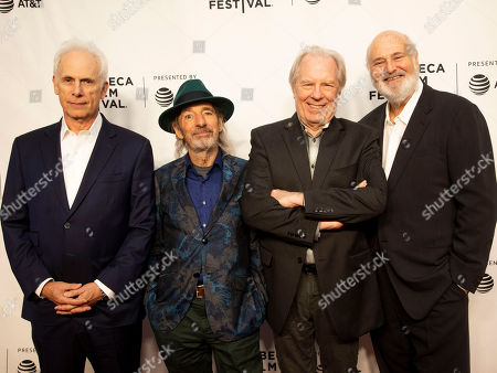 "Christopher Guest, Harry Shearer, Michael McKean, Rob Reiner. Christopher Guest, from left, Harry Shearer, Michael McKean and Rob Reiner attend the 35th anniversary screening for ""This is Spinal Tap"" during the 2019 Tribeca Film Festival at the Beacon Theatre, in New York"