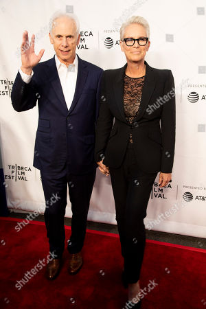 """Stock Picture of Christopher Guest, Jamie Lee Curtis. Christopher Guest, left, and Jamie Lee Curtis attend the 35th anniversary screening for """"This is Spinal Tap"""" during the 2019 Tribeca Film Festival at the Beacon Theatre, in New York"""