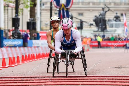 Stock Picture of American's Tatyana McFadden finished second followed by Australian's Madison De Rozario who finished third at the women's wheelchair race at the London Marathon 2019.