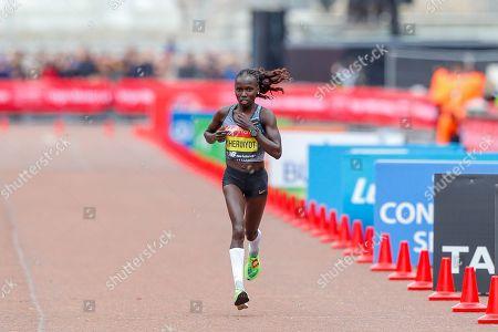 Stock Photo of Vivian Cheruiyot (Kenya), runner-up, Women's Elite race, during the Virgin Money 2019 London Marathon, London