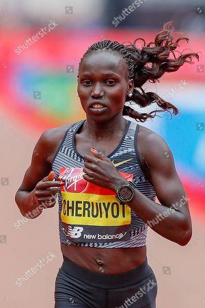 Vivian Cheruiyot (Kenya), runner-up, Women's Elite race, during the Virgin Money 2019 London Marathon, London
