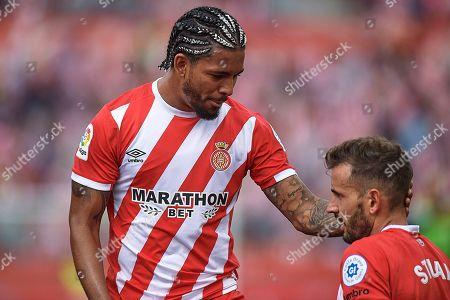 Douglas Luiz and Cristhian Stuani of Girona FC