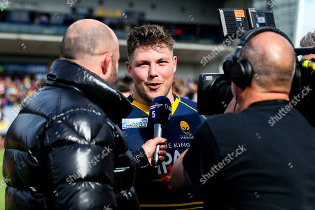 Ethan Waller of Worcester Warriors is interviewed by David Flatman for Channel 5