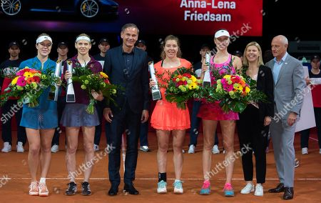 Anastasia Pavlyuchenkova of Russia & Lucie Safarova of the Czech Republic and Anna-Lena Friedsam & Mona Barthel of Germany with their trophies after the doubles final