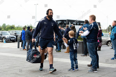 Josh Strauss and the rest of the Sale Sharks team arrive at the AJ Bell Stadium