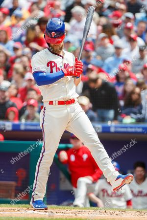 Philadelphia Phillies' Bryce Harper (3) reacts while at bat during the MLB game between the Miami Marlins and Philadelphia Phillies at Citizens Bank Park in Philadelphia, Pennsylvania