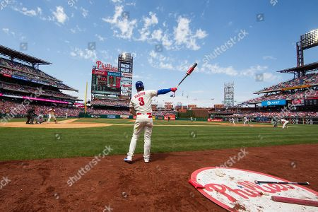 Philadelphia Phillies' Bryce Harper (3) gets ready for his at bat during the MLB game between the Miami Marlins and Philadelphia Phillies at Citizens Bank Park in Philadelphia, Pennsylvania