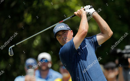 Ryan Palmer hits off the third tee during the final round of the PGA Zurich Classic golf tournament at TPC Louisiana in Avondale, La
