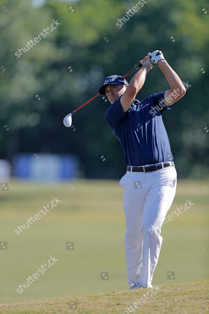 Ryan Palmer hits on the 18th fairway during the final round of the PGA Zurich Classic golf tournament at TPC Louisiana in Avondale, La