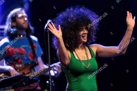 Stock Image of American singer and pianist Kandace Springs performs on the stage during the 55th 'Jazz nad Odra Festival' in Wroclaw, Poland 28 Aprill 2019.