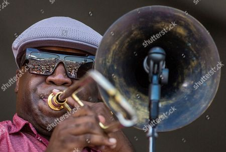 Big' Sam Williams performs on the Acura Stage during the tribute to Dave Bartholomew and Fats Domino at the New Orleans Jazz & Heritage Festival in New Orleans