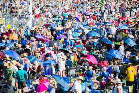 Crowds wait for Van Morrison to perform on the Acura Stage during the New Orleans Jazz & Heritage Festival in New Orleans
