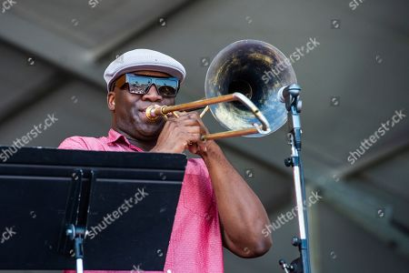Big Sam performs at the New Orleans Jazz and Heritage Festival, in New Orleans
