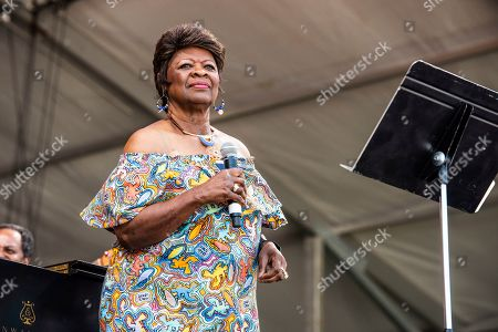 Stock Image of Irma Thomas performs at the New Orleans Jazz and Heritage Festival, in New Orleans