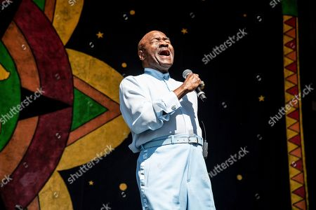 Walter Williams of The O'Jays performs at the New Orleans Jazz and Heritage Festival, in New Orleans