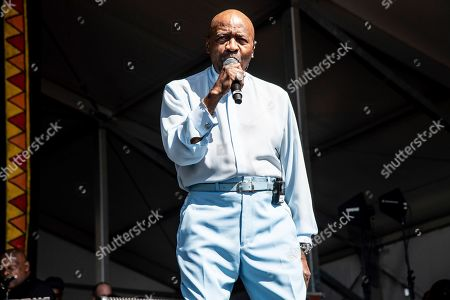 Stock Image of Walter Williams of The O'Jays performs at the New Orleans Jazz and Heritage Festival, in New Orleans