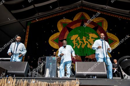 Walter Williams, Eddie Levert, Eric Grant. Walter Williams, from left, Eddie Levert, and Eric Grant of The O'Jays performs at the New Orleans Jazz and Heritage Festival, in New Orleans