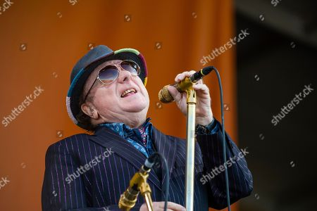 Stock Image of Van Morrison performs at the New Orleans Jazz and Heritage Festival, in New Orleans